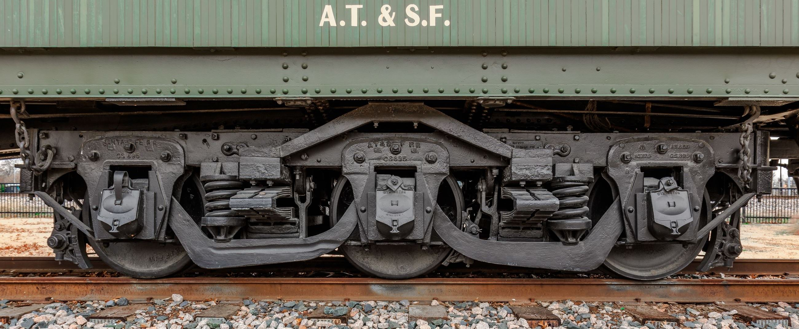 AT & SF lettering on the side of the Pullman Railcar