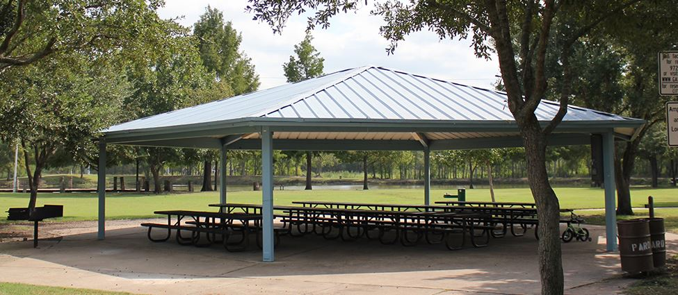 Covered park pavilion with picnic tables