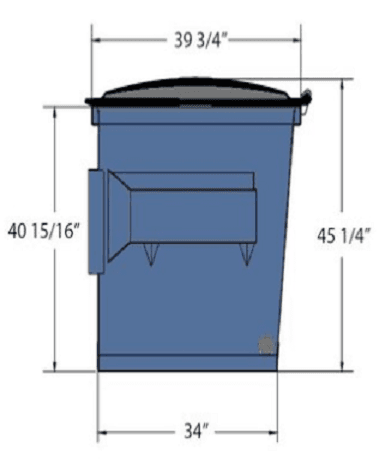 Picture of 2 cubic-yard front-load dumpster with dimensions