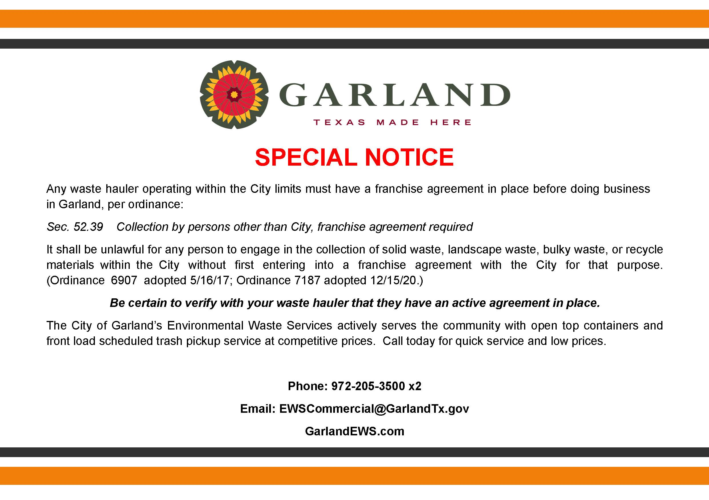 Special Notice Regarding Franchise Hauler Ordinance