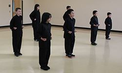 Young kung fu students in formation