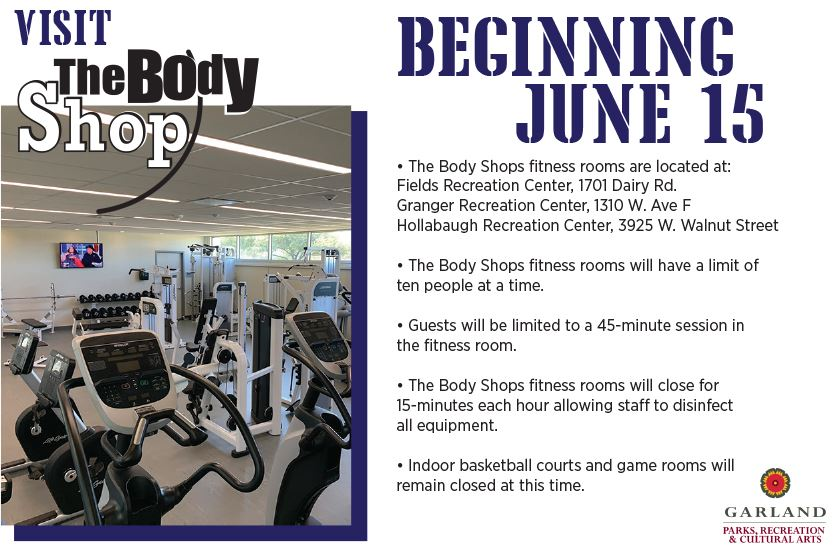 Body Shops Opening June 8 - go to our Body Shop webpage for more details